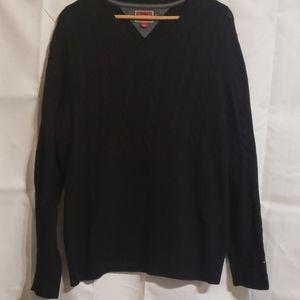 Vintage Tommy Hilfiger black cable knit sw…